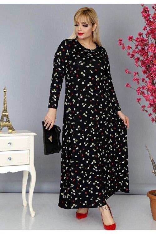 HERAXL Kadın Siyah Papatya Desenli Büyük Beden Elbise 1