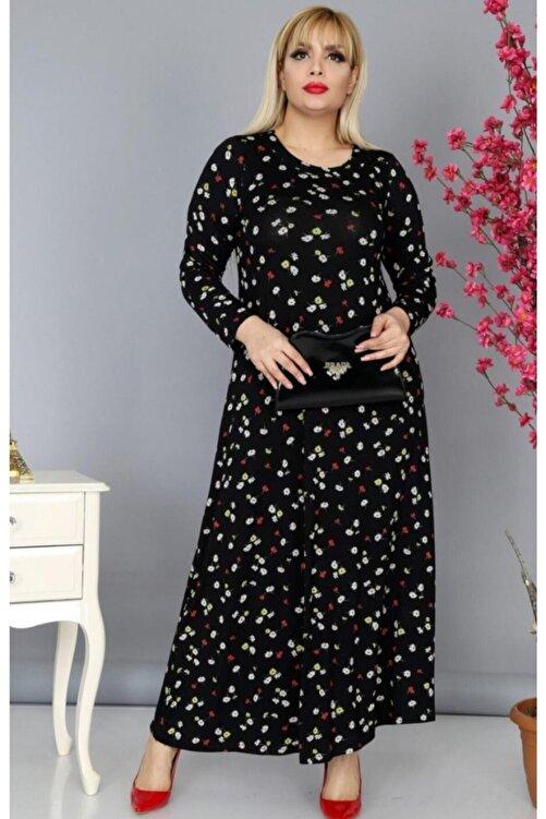 HERAXL Kadın Siyah Papatya Desenli Büyük Beden Elbise 2