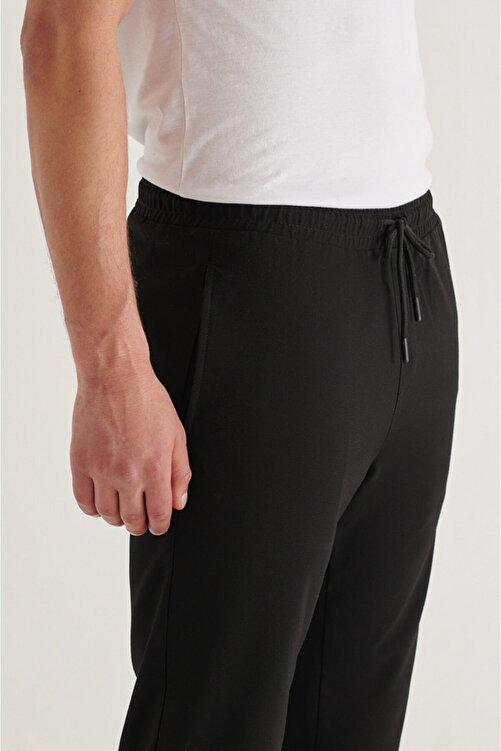Avva Erkek Siyah Yandan Cepli Beli Lastikli Kordonlu Düz Relaxed Fit Pantolon E003000 2