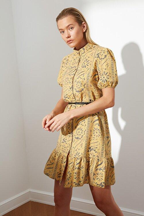 TRENDYOLMİLLA Hardal Kuşaklı Desenli Elbise TWOSS21EL2622 2