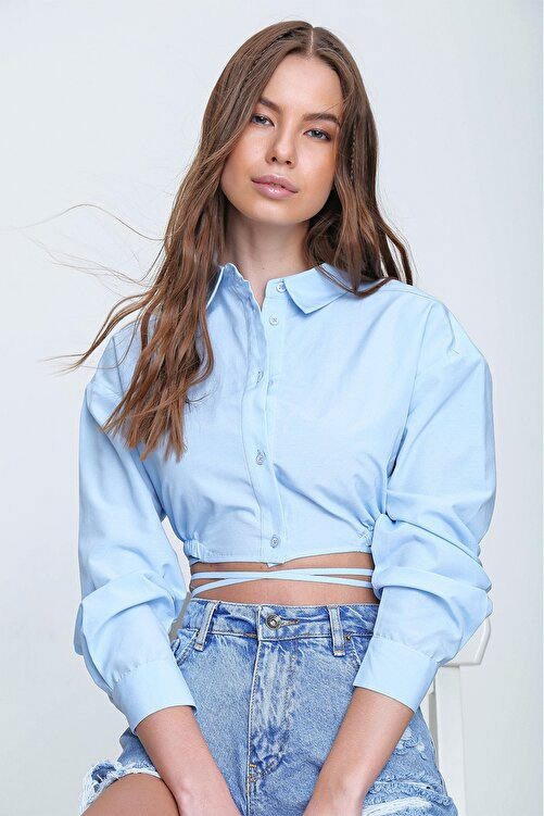 Trend Alaçatı Stili Kadın Mavi Bağcıklı Crop Poplin Gömlek ALC-X6039 2