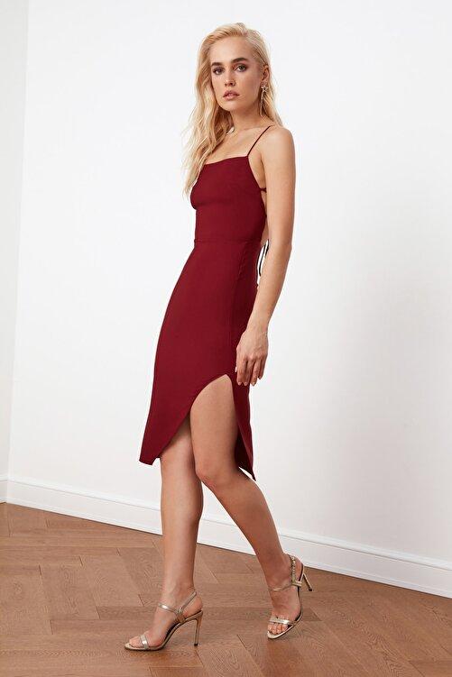 TRENDYOLMİLLA Bordo Sırt Detaylı Elbise TPRSS21EL0176 2