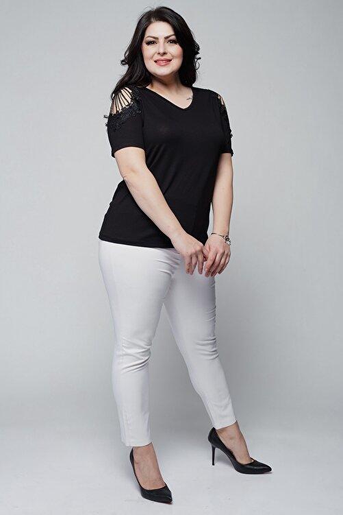 Ebsumu Kadın Büyük Beden V Yaka Omuzu Güpürlü Siyah Bluz 2