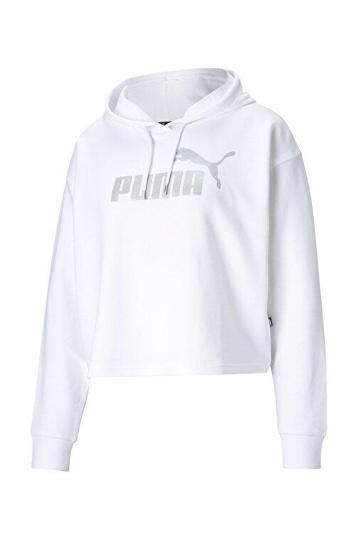 Puma Kadın Essential Metalik Logo Sweatshirt-beyaz 1