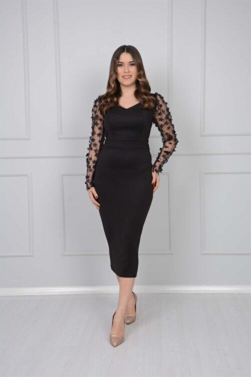 giyimmasalı Scuba Kumaş Kolları 3 Boyutlu Çiçekli Kalem Elbise - Siyah 2