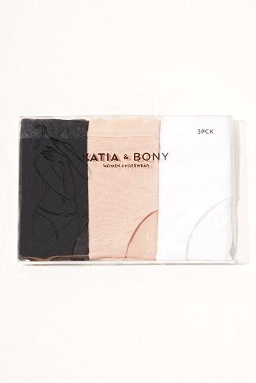 Katia&Bony Kadın  3'lü Paket Natural Modal Hıpster -siyah / Beyaz / Ten 2