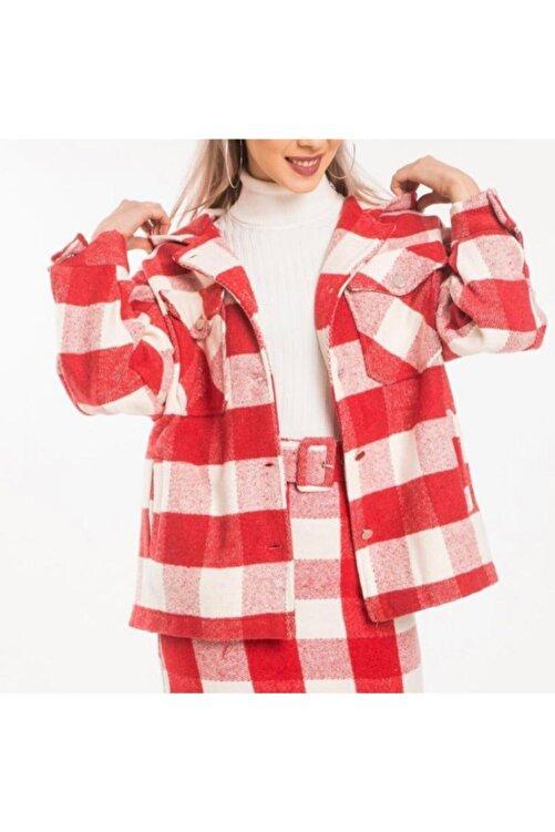 OKYANUS MODA Kadın Kırmızı Kapüşonlu Gömlek Ceket 2