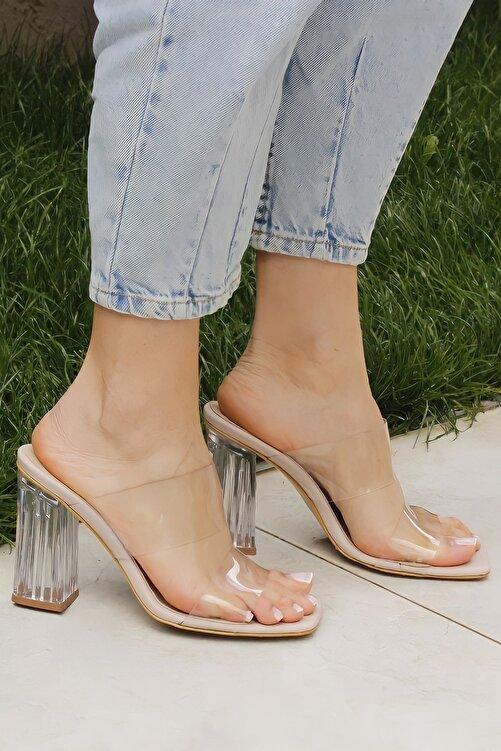 Ayakkabı Ateşi Nude Cilt Şeffaf Topuklu Kadın Terlik 1
