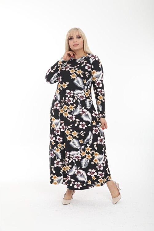 Pelek Butik Büyük Beden Çiçek Desen Elbise Pe495 2