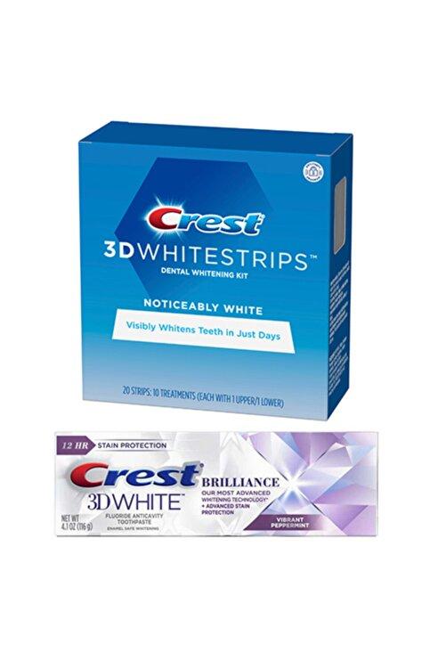 CREST 3d White Noticeably Diş Beyazlatma Bantı 3d White Brilliance Diş Macunu Seti 1
