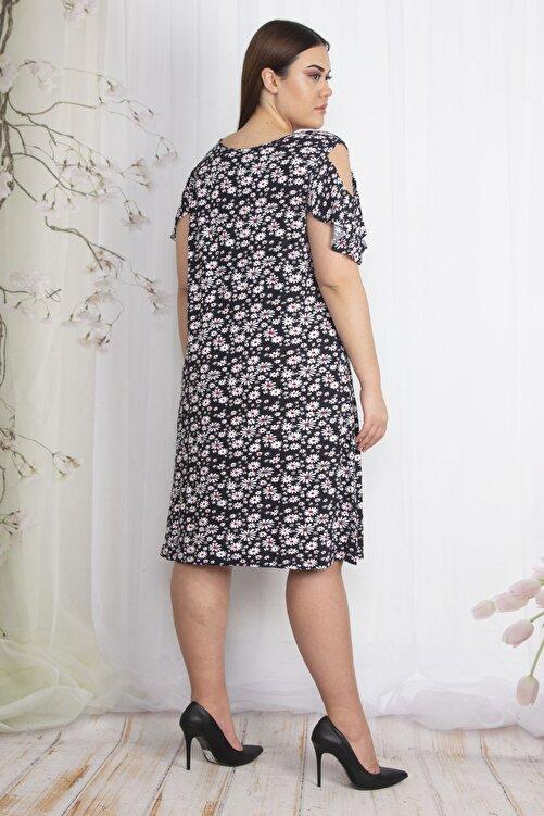 Şans Kadın Renkli Omuz Dekolteli Çiçek Desenli Elbise 65N22386 2