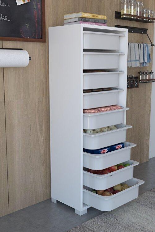 Tedarikcenter Mutfak Dolabı 9 Sepetli Çok Amaçlı Dolap Sebze Dolabı - Beyaz 1