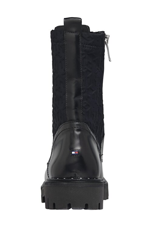 Tommy Hilfiger Kadın Siyah Bot & Bootie Materıal Mıx Th Bootıe FW0FW05190 2