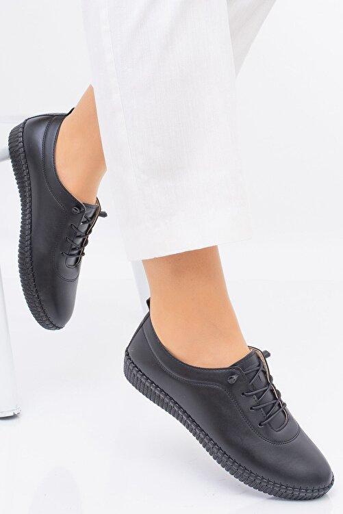 MelikaWalker Full Comfort Ve Ortopedik Bayan Siyah Günlük Rahat Lastik Bağcıklı Hava Alabilen Bayan Ayakkabı 2