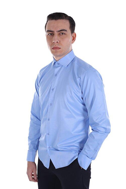 Diandor Erkek Mavi Uzun Kollu Klasik Gömlek 2