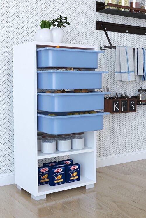 Tedarikcenter Mutfak Dolabı 4 Sepetli 2 Raflı Çok Amaçlı Dolap Çekmeceli Dolap - Mavi 1