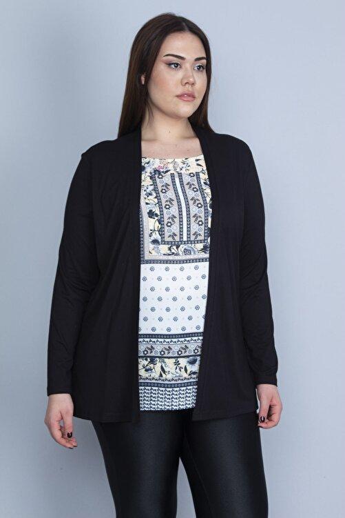 Şans Kadın Siyah İkili Görünümlü Tek Parça Bluz 65N23082 1