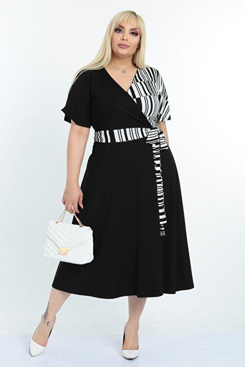 Mooi XXL Kadın Siyah Beyaz Çizgi Desenli Kruvaze Yaka Büyük Beden Elbise 2