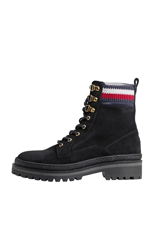 Tommy Hilfiger Kadın Siyah Bot & Bootie Rugged Classıc Lace Up Flat Boot FW0FW05171 2