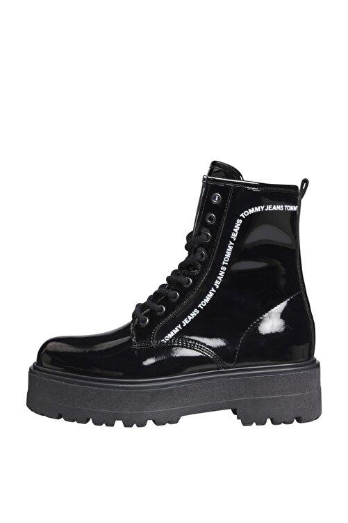 Tommy Hilfiger Kadın Siyah Bot & Bootie Patent Lace Up Boot EN0EN01151 1