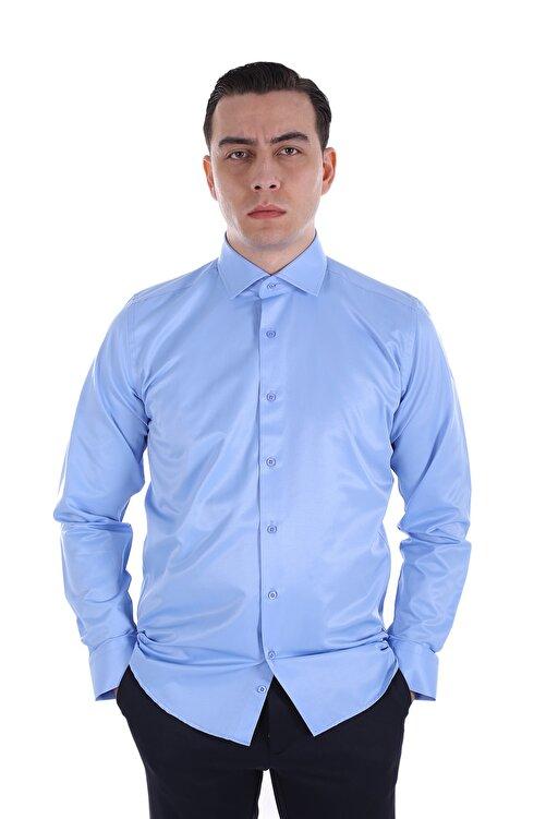 Diandor Erkek Mavi Uzun Kollu Klasik Gömlek 1