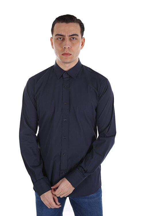 Diandor Erkek Lacivert Uzun Kollu Gömlek V3 162760 1