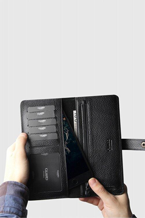 GUARD Unisex Siyah Telefon Kılıflı Deri Kartlık ve Para Slotlu Cüzdan 2