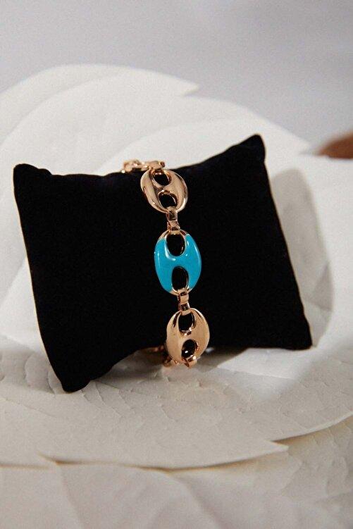 Mizalle Altın Kaplama Renkli Bileklik (mavi) 1