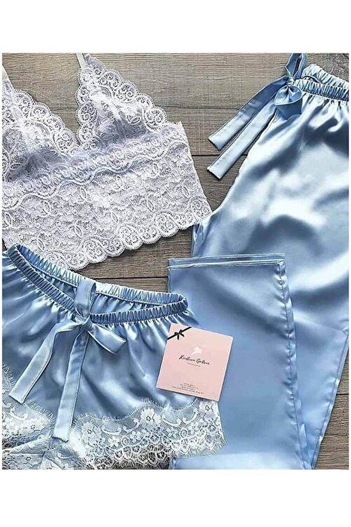 Çeyize dair herşey Dantel Büstiyerli Mavi Saten Şortlu Pijama Takımı 5217 S 1