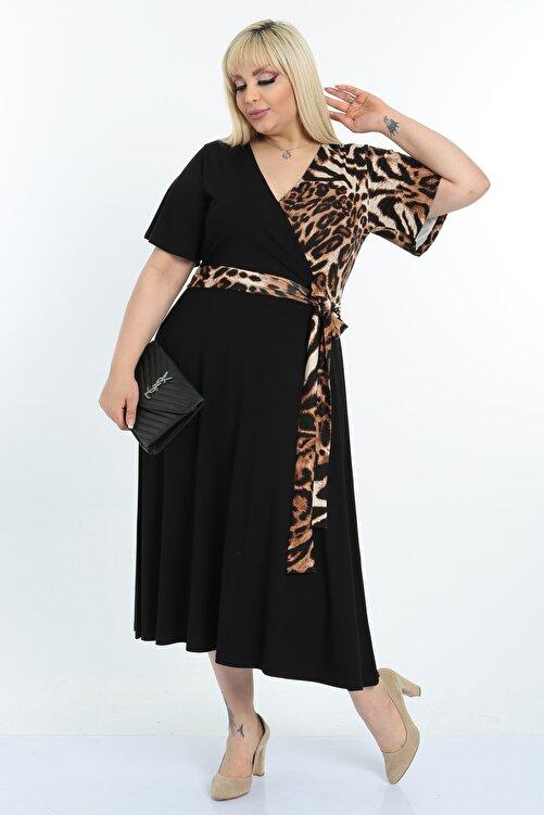 Mooi XXL Kadın Siyah  Desenli Kruvaze Yaka Büyük Beden Elbise 2