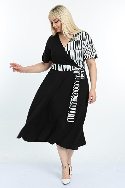 Mooi XXL Kadın Siyah Beyaz Çizgi Desenli Kruvaze Yaka Büyük Beden Elbise 1