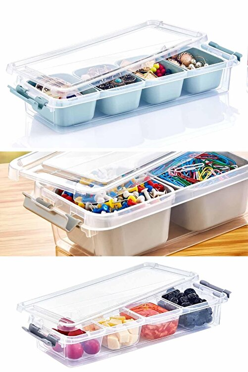 Helen's Home Maxi 4 Bölmeli Kapaklı Çok Amaçlı Saklama Kutusu Plastik Kahvaltılık Saklama Kabı Organizer 2,5lt 1