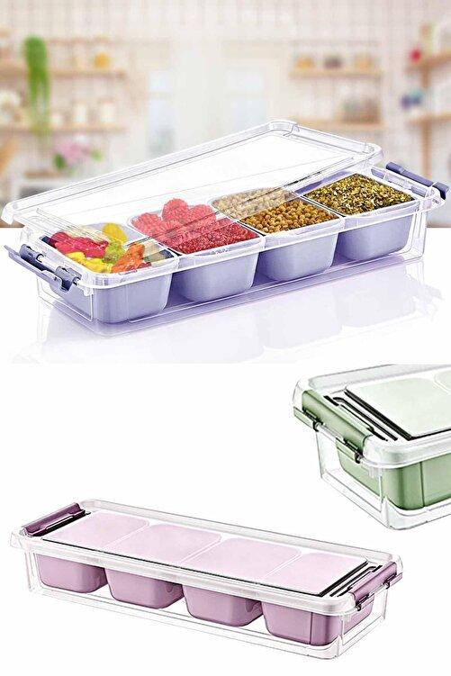 Helen's Home Maxi 4 Bölmeli Kapaklı Çok Amaçlı Saklama Kutusu Plastik Kahvaltılık Saklama Kabı Organizer 2,5lt 2