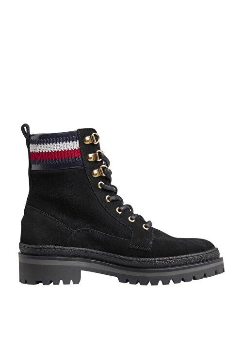 Tommy Hilfiger Kadın Siyah Bot & Bootie Rugged Classıc Lace Up Flat Boot FW0FW05171 1