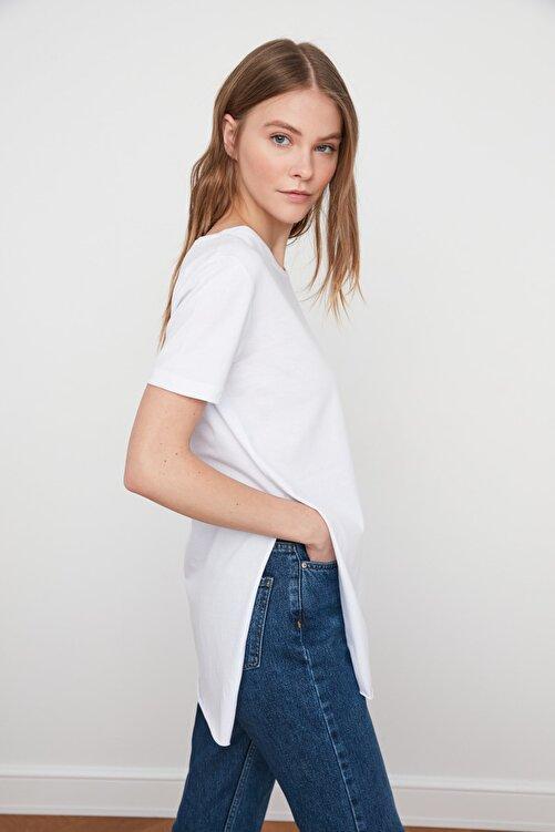 TRENDYOLMİLLA Ekru Asimetrik Boyfriend Örme T-Shirt TWOSS20TS0829 1