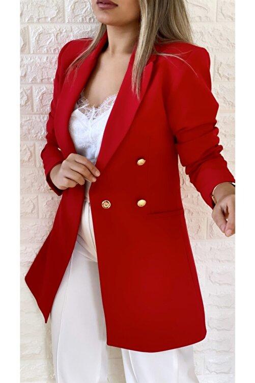 SEDA FİDAN Uzun Gold Düğmeli Blazer Ceket Kırmızı 2