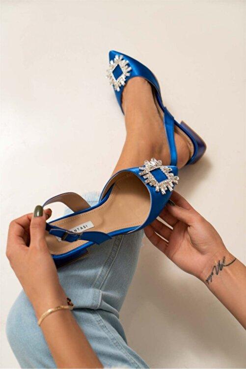 NİŞANTAŞI SHOES Kadın Saks Mavi Saten Şeffaf Burun Taş Detay Sandalet 1