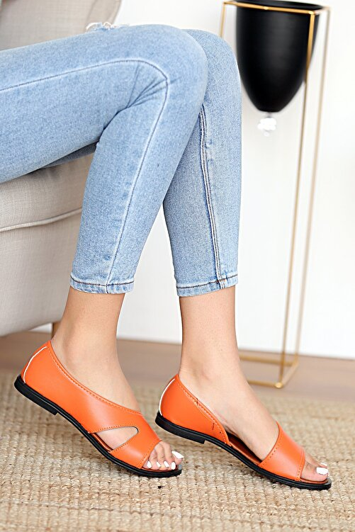 Pembe Potin Kadın Turuncu Sandalet 1