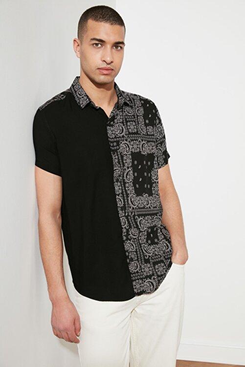 TRENDYOL MAN Siyah Erkek Regular Fit Viskon Parçalı Kısa Kol Gömlek TMNSS21GO0218 2