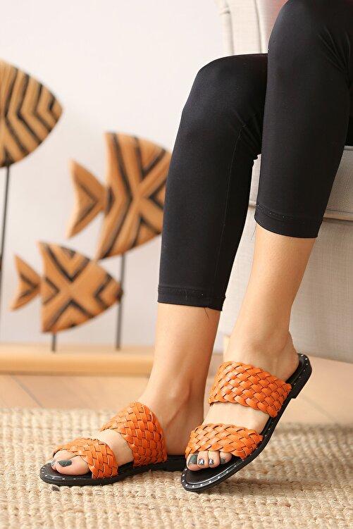 Pembe Potin Turuncu Kadın Sandalet 2