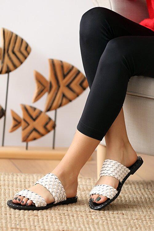 Pembe Potin Krem Kadın Sandalet 2