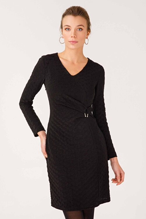 Ekol 21k.ekl.elb.04005.1 Uzun Kol Orta Desenli Siyah Elbise 1
