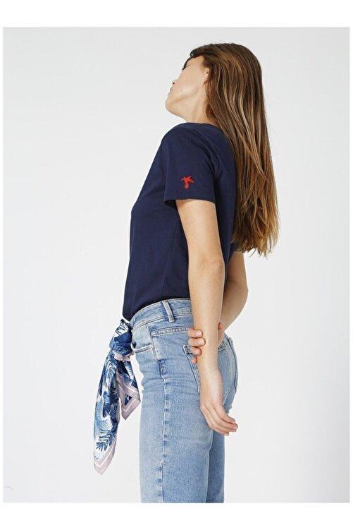 Fabrika Teyo Lacivert V Yaka Kadın T-shirt 2