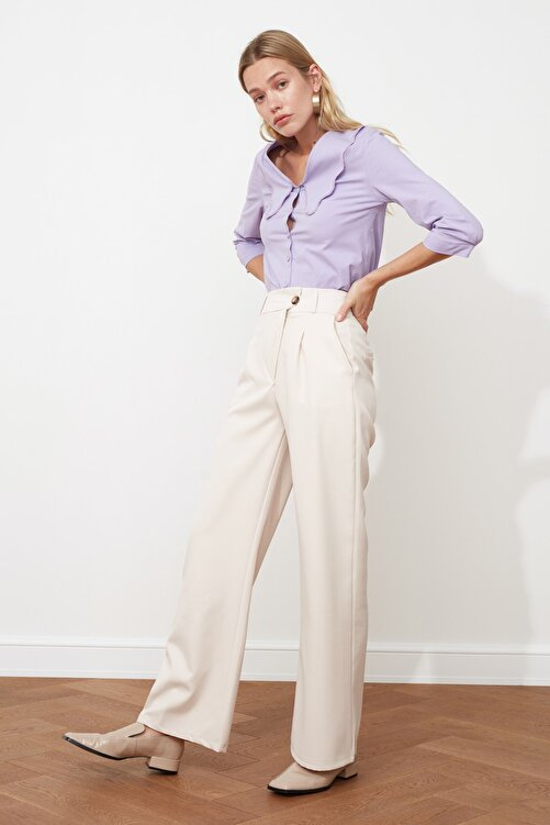 TRENDYOLMİLLA Taş Asimetrik Kapamalı Pileli Pantolon TWOSS21PL0100 2