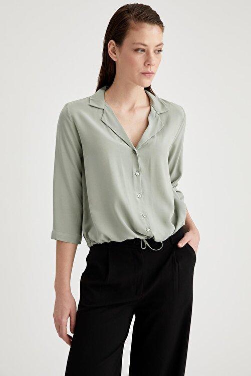DeFacto Ceket Yaka Beli Bağlamalı Relax Fit Viskon Gömlek 1