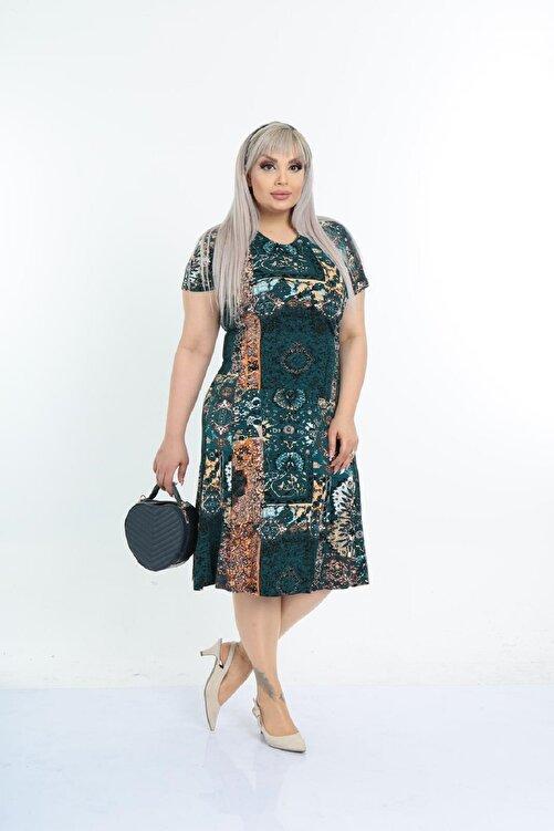 Şirin Butik Kadın Büyük Beden Yeşil Etnik Desenli Günlük Viskon Elbise 1