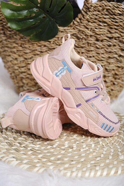 Oksit Kız Çocuk Pembe Mc Kimberly Çizgi Detaylı Örgülü Kalın Taban Sneaker 2