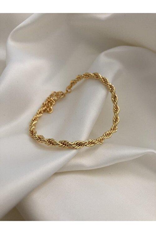 The Y Jewelry Kadın Altın Renk Burgu Zincir Bileklik 1