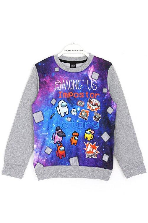 AMONG US Erkek Çocuk Gri Oyun Karakterleri Baskılı Sweatshirt 1