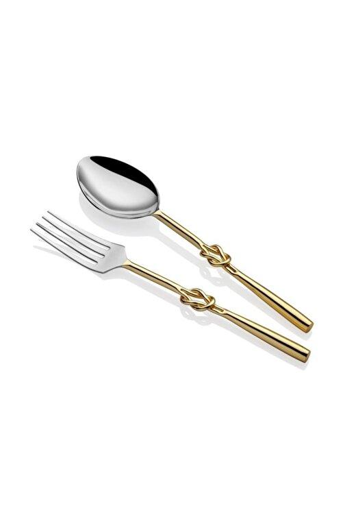 LAMEDORE Düğüm Desen Altın 2'li Salata Servis Seti 1